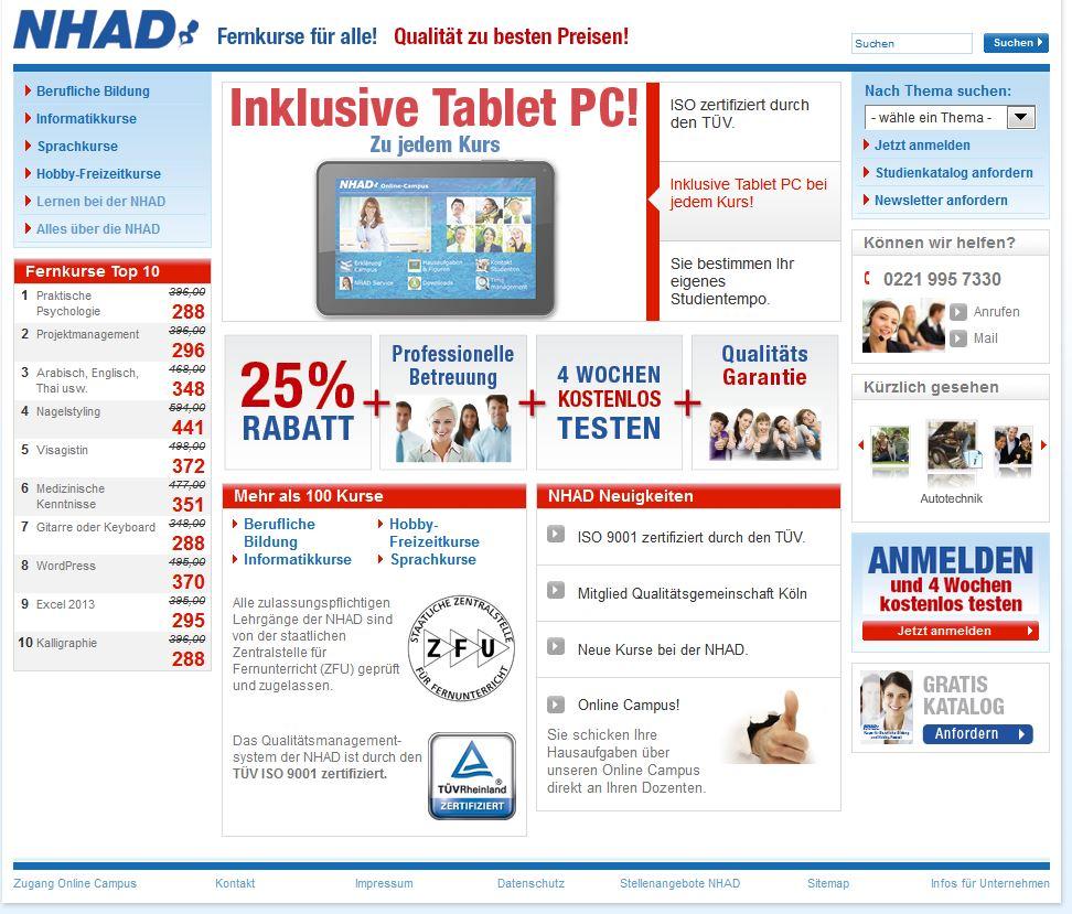 Fernstudium Bewertung(en) NHAD Institut & Vergleich